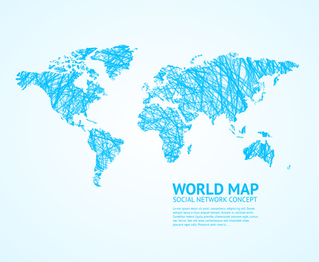 stylize: World Map Stylize on Light. Social Network Concept. Vector illustration