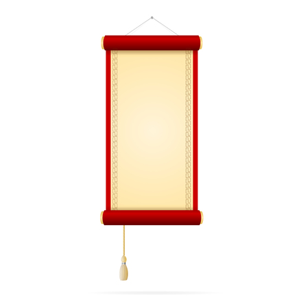 Chinese Style Paper Scroll on a Light Background. Vector illustration 일러스트