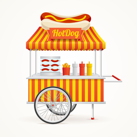 Fast Food Hot Dog Street Market Stall on a Light Background. Vector illustration