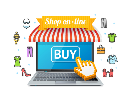 business shirts: Online Shopping with App. Open Laptop. Vector illustration