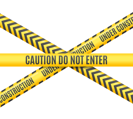 Under Construction Linie Kreuz auf weißem Hintergrund. Vektor-Illustration Illustration