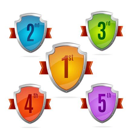 shield set: Award Shield Set with Numbers for Design. Vector illustration Illustration