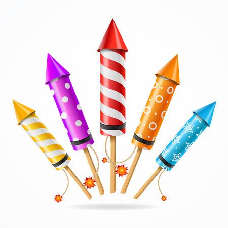 Fireworks Rocket Set of Different Color Ett Symbol Of Holiday. Vektor illustration