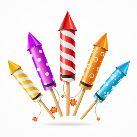 Fireworks Rocket Set of Different Color a Symbol of Holiday . Vector illustration Stock Illustratie