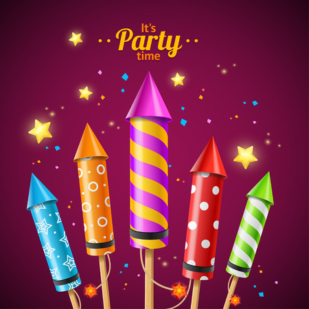 Party Rocket Fireworks Flyer Card for Use on Holiday. Vector illustration