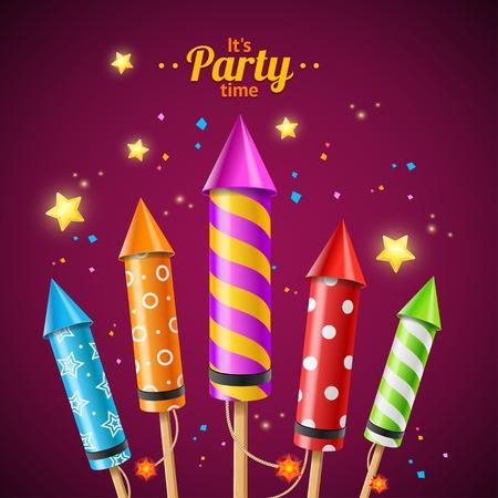 Party Rocket Fireworks Flyer Card voor gebruik op vakantie. Vector illustratie Stock Illustratie
