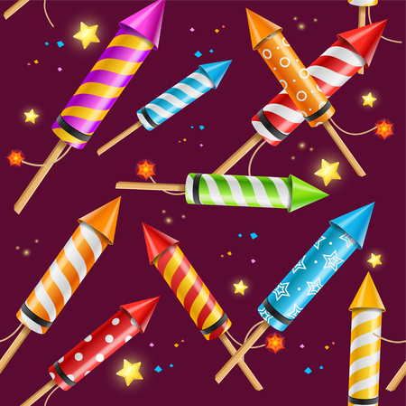 holiday party: Party Rocket Fireworks Background Pattern. Fun Holiday. Vector illustration