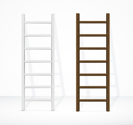 stepladder: Realistic Stairs and Wall. Different Types. Vector illustration