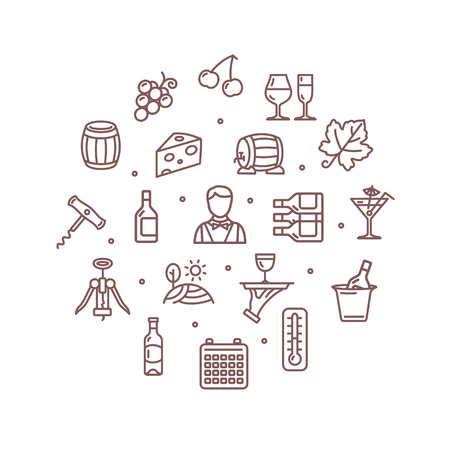sommelier: Wine Making Drink Round Design Template Thin Line Icon Set Isolated on White Background. Vector illustration Illustration