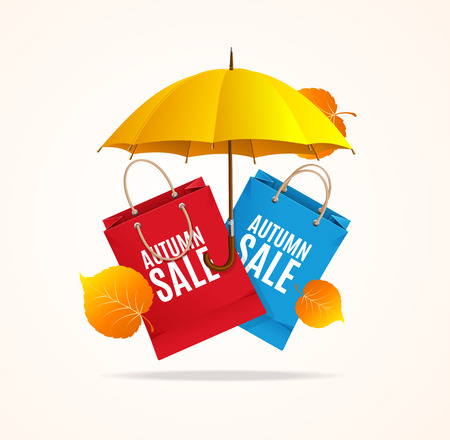 paper bags: Autumn Sale Card with Umbrella and Paper Bags. Vector illustration