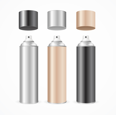 aluminum: Aluminium Spray Can Template Blank Color Set. Vector illustration