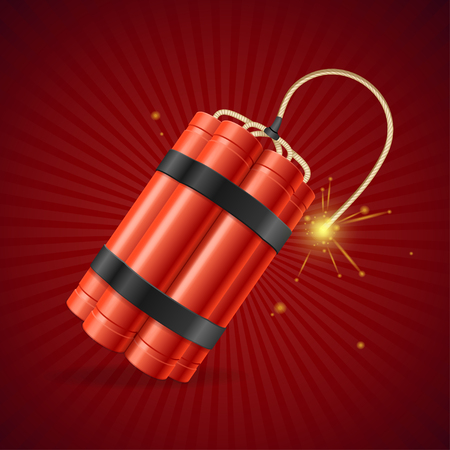 fire wire: Detonate Dynamite Bomb on a Red Background. Vector illustration Illustration