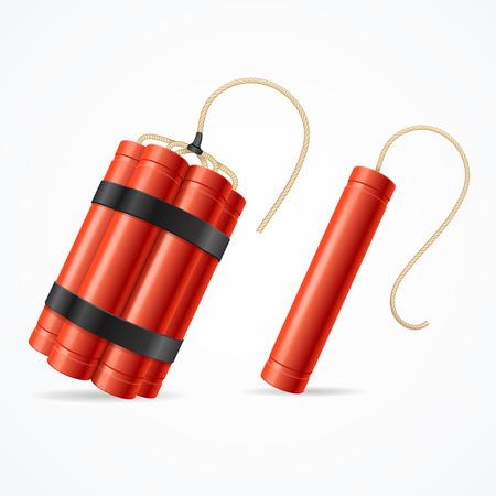 Detonate Dynamite Bomb Set For Web. Different Types. Vector illustration