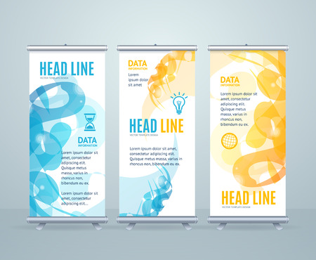 trade show: Roll Up Banner Stand Design with Abstract Geometric Shape. Vector illustration