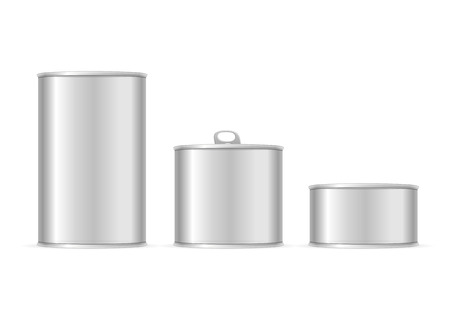 aluminum: Set of Metallic Tin Cans. Different Size for Your Business. Vector illustration