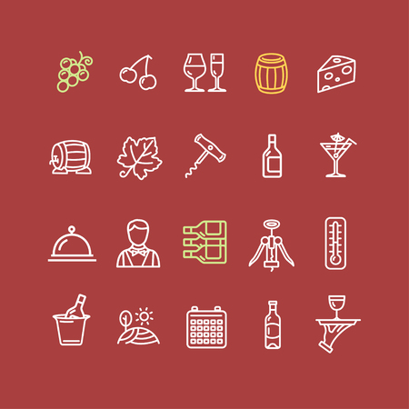 wine red: Wine Making Drink Outline Icon Set on a Red Background. Vector illustration