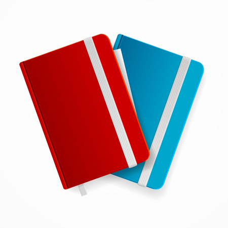 elastic band: Blank Copybook Template Set with Elastic Band and Bookmark. Red and Blue Vector illustration