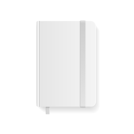 copybook: Blank White Copybook Template with Elastic Band and Bookmark. Vector illustration