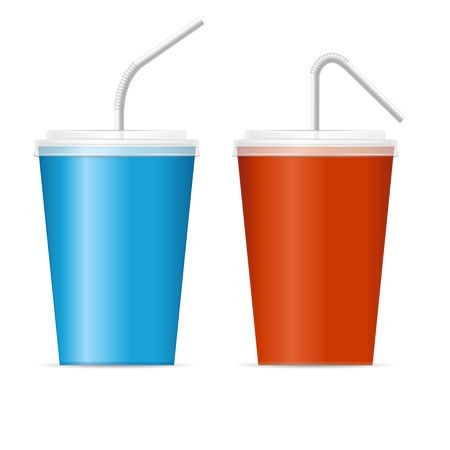 tonic: Paper Cup Template for Soda Set. Red and Blue. Vector illustration
