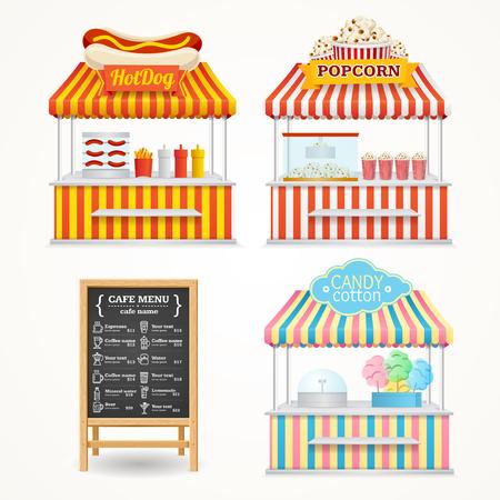 house front: Street Food Market Set and Menu Blackboard. Vector illustration
