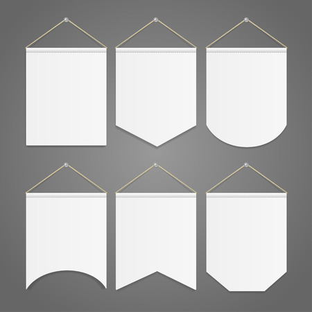 White Pennant Template Opknoping op Wall Set. vector illustratie