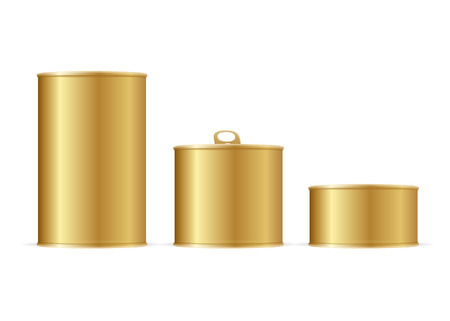 gold cans: Set of Gold Tin Cans. Different Size for Your Business. Vector illustration Illustration