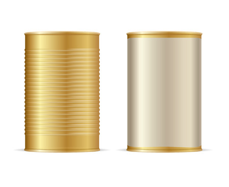 tinned: Set of Gold Tin Cans. Vector illustration Illustration