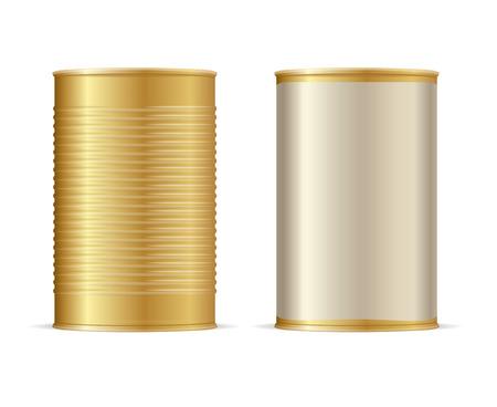 Set of Gold Tin Cans. Vector illustration Illustration