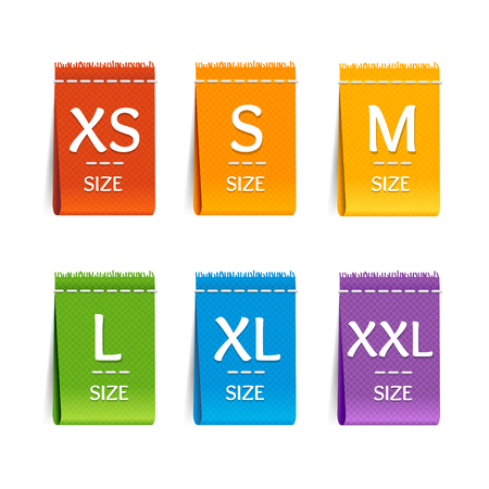 product design specification: Color Size Clothing Labels Set. Vector illustration
