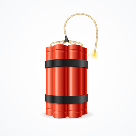 detonate: Detonate Dynamite Bomb. Symbol of Terror and Danger. Vector illustration Illustration