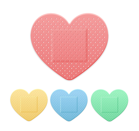 Aid Band Plaster Strip Medical Patch Heart Color Set. Vector illustration Vettoriali