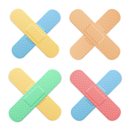aid: Aid Band Plaster Strip Medical Patch Color Cross Set. Vector illustration