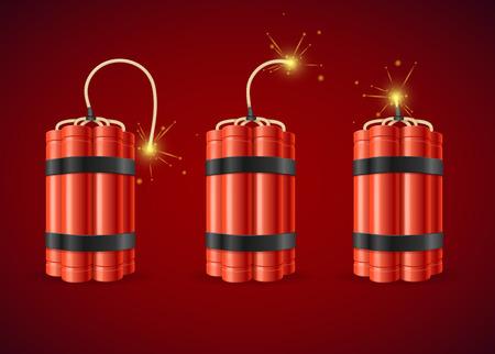 Detonar la dinamita Bomba Conjunto Detonar la bomba de la dinamita. ilustración vectorial