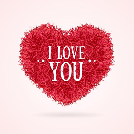 Fur Banner Heart Love You Valentine Concept Card. Vector illustration Illustration