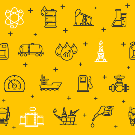 industry pattern: Oil Industry Background Pattern on a Yellow. Vector illustration Illustration