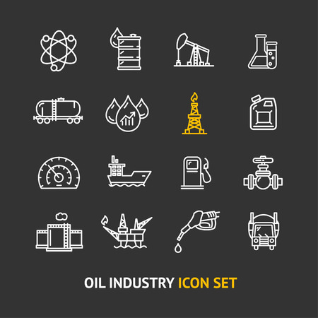 power station: Oil Industry Outline Icon Set on a Black Background Pixel Perfect Art. Material Design. Vector illustration
