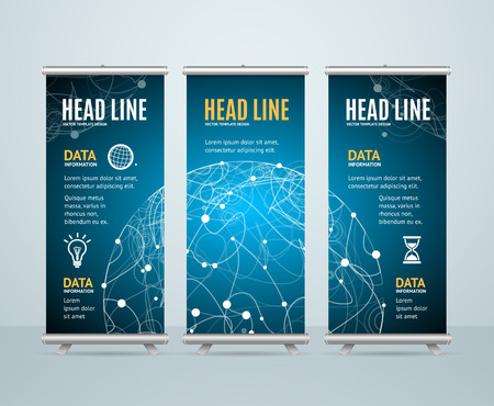 roll up: Roll Up Banner Template Cosmos Science Concept. Vector illustration
