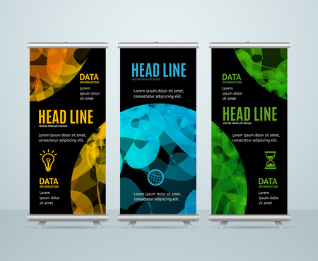 Roll Up Banner Template with Abstract Sphere. Vector illustration