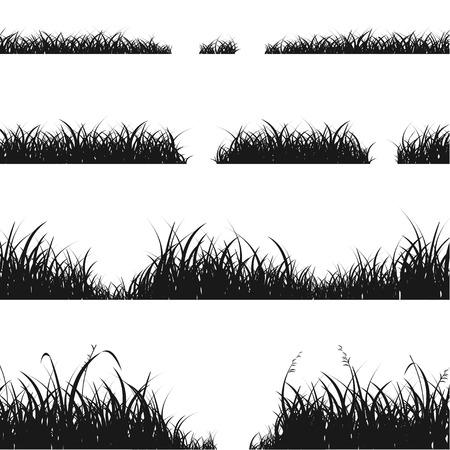 religion  herb: Set of Black Grass Silhouette for Your Design. Vector illustration