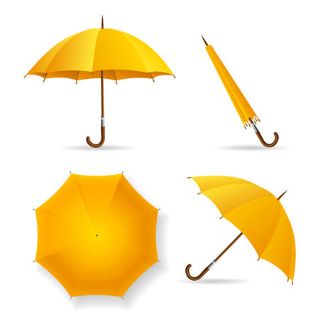yellow umbrella: Yellow Umbrella Template Set. Opened and Closed. Vector illustration