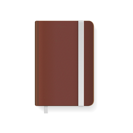 copybook: Blank Brown Copybook Template with Elastic Band and Bookmark. Vector illustration Illustration