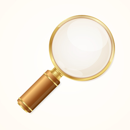 Realistic Gold Magnifying Glass. Symbol Studies, Research and Search. Vector illustration