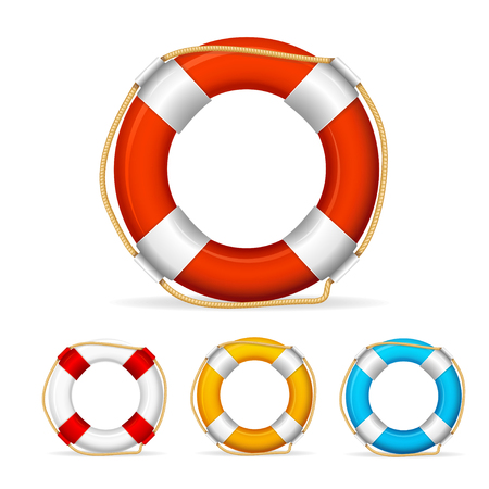 beach buoy: Life Buoy Color Set with Rope. Vector illustration