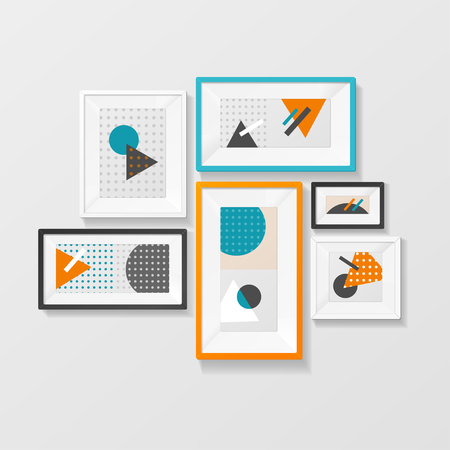 home decor: Modern Picture Frame Set Hanging on Wall. Home Decor. Vector illustration