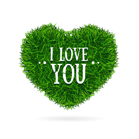 passion  ecology: Grass Banner Heart Love You Valentine Concept Card. Vector illustration Illustration