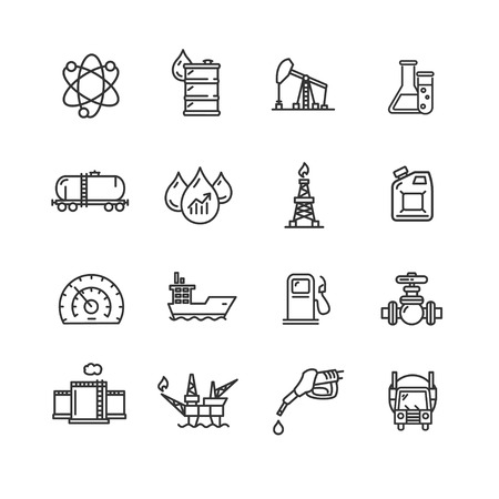 pixel perfect: Oil Industry Outline Icon Set Pixel Perfect Art. Material Design. Vector illustration