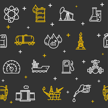 industry pattern: Oil Industry Background Pattern on a Black. Vector illustration