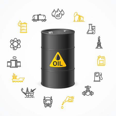 oil drum: Oil Industry Concept with Black Barrel Drum Label and Icon Set Pixel Perfect Art. Material Design. Vector illustration