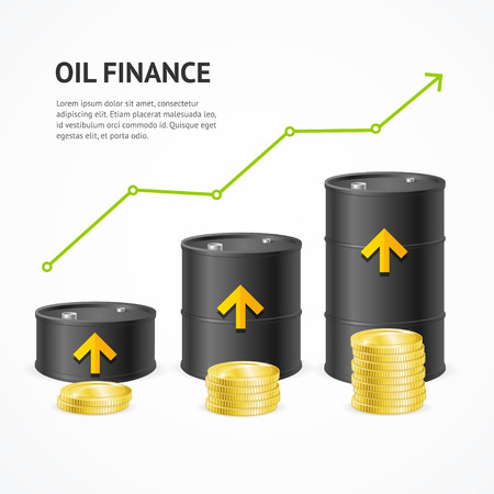 financial success: Oil Industry Graph Concept. Green Arrow Up Financial Success. Vector illustration