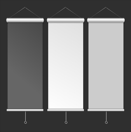 rollup: Blank Roll Up Banner Template. White, Grey and Black Color. Vector illustration